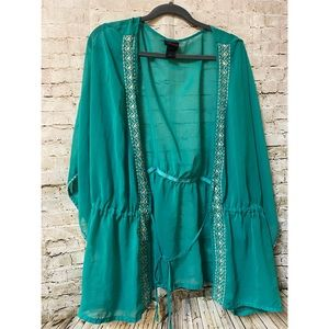 Torrid Green Sheer Swim Cover Up Tie Front Size 3